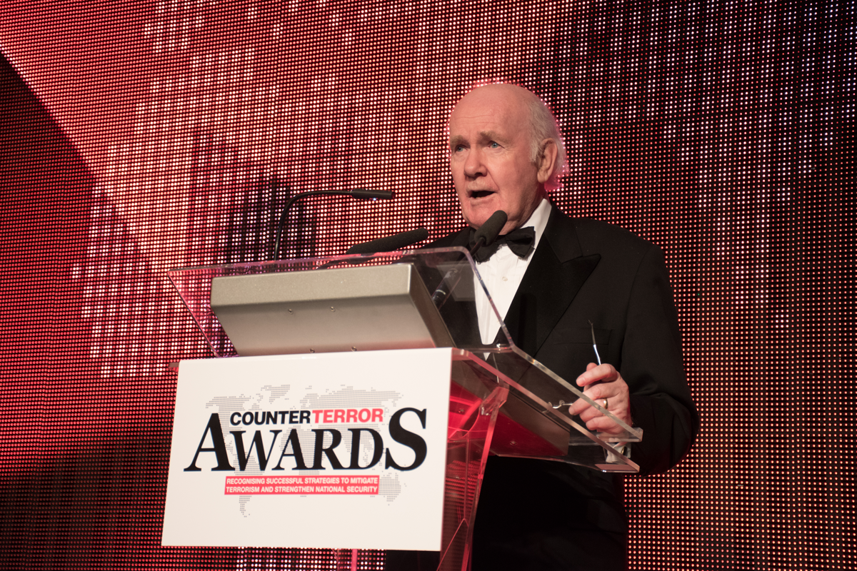 Lord John Reid announcing the winners of the 2019 Counter Terror Awards