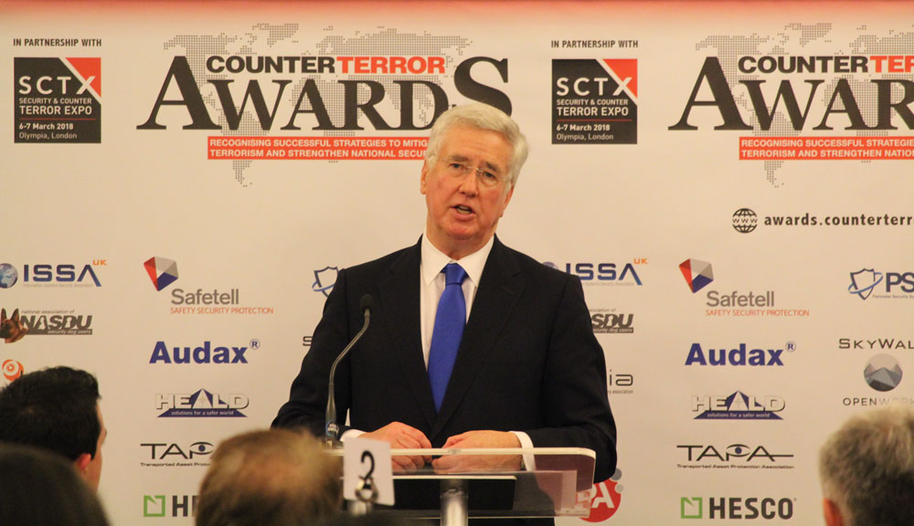 Sir Michael Fallon presents the first Counter Terror Awards at SCTX